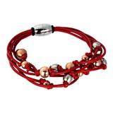 Abalorio pulsera rojo imantada con bolas bañadas en oro rosa y plateadas 8435334801429 DEVOTA Y LOMBA Devota & Lomba