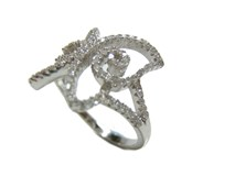 RING SILVER BUTTERFLY AND ZIRCONS