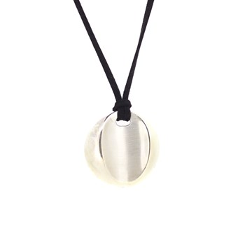 CIRCULAR SILVER NECKLACE WITH VELVET LACE Stradda 14H2