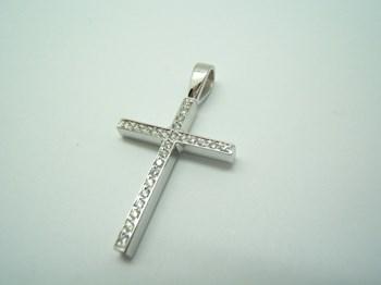 Collar Cruz Oro blanco y diamantes C-186 B-79