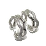 EARRINGS HOOPS LARGE WHITE GOLD 18KTES MATTE AND BRIGHTNESS OF 2.5 CM OUTER DIAMETER AND 8MM THICKNESS NEVER SAY NEVER