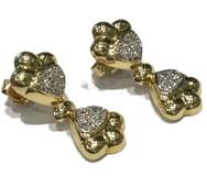 Boucles d'oreilles or 18 carats et Zircons
