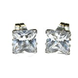 EARRINGS OF WHITE GOLD OF 18KTES AND ZIRCONS SQUARE NEVER SAY NEVER