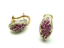 Pendientes de oro blanco y amarillo, diamantes y rubies pe3400663