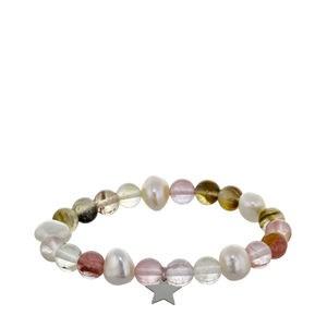 Pulsera ágatas multicolor y perlas barrocas