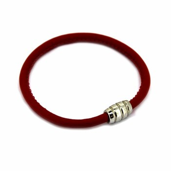 RED LEATHER BRACELET AND SILVER 19CM 60P99-19 Stradda