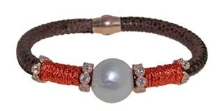 Pulsera de cuero acero y perla BRB69-3 LUCA LORENZINI