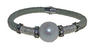 Pulsera de cuero acero y perla BRB69-5 LUCA LORENZINI