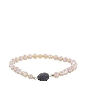 Bracelet perles roses et noir argent drusy