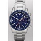 reloj crono azul y cadena acero ar5933 Emporio Armani
