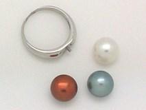 Sortija de plata con 3 perlas intercambiables
