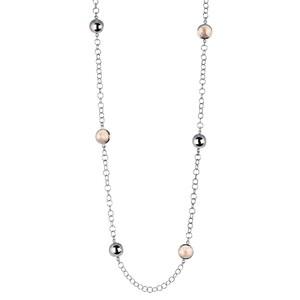 Abalorio collar cadena con bolas plateadas y cristales color 8435334801818 DEVOTA Y LOMBA Devota & Lomba