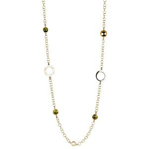 Abalorio collar cadena  dorada con aros y cristales verdes 8435334801795 DEVOTA Y LOMBA Devota & Lomba