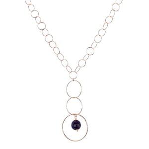 Abalorio collar colgante bañado en oro rosa con aros y cristal lila 8435334801474 DEVOTA Y LOMBA Devota & Lomba