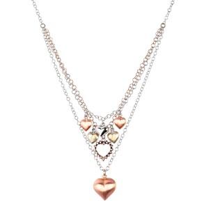 Abalorio collar colgante con corazones bañados en oro rosa 8435334801610 DEVOTA Y LOMBA Devota & Lomba