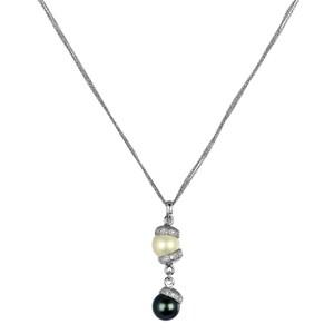 Abalorio collar colgante de plata con circonitas, perla blanca y perla negra 8435334802044 DEVOTA Y LOMBA Devota & Lomba