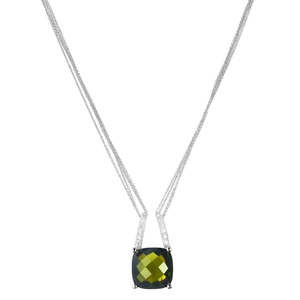 Abalorio collar colgante de plata con cristal verdey circonio 8435334801986 DEVOTA Y LOMBA Devota & Lomba