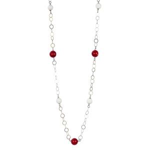Abalorio collar colgante de plata con detalles bolas blancas y rojas 8435334802174 DEVOTA Y LOMBA Devota & Lomba