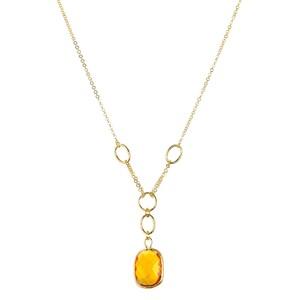 Abalorio Collar colgante dorado con cristales amarillos 8435334801689 DEVOTA Y LOMBA Devota & Lomba