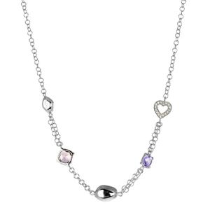 Abalorio collar plateado con corazón de circonitas, cristales y formas 8435334801665 DEVOTA Y LOMBA Devota & Lomba