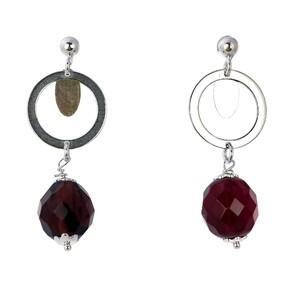 Abalorio pendientes aro con cristal granate 8435334801450 DEVOTA Y LOMBA Devota & Lomba