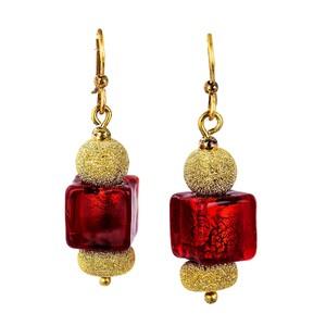 Abalorio pendientes colgantes con bolas y cuarzos rojos en forma de cubo 8435334800989 DEVOTA Y LOMBA Devota & Lomba