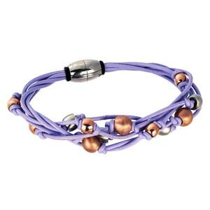 Abalorio pulsera lila imantada con bolas bañadas en oro rosa y plateadas 8435334801405 DEVOTA Y LOMBA Devota & Lomba
