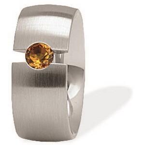 Anillo para mujer en acero quirúrgico con diamante brown  411024G0 Xen