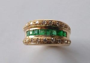 Sortija de Esmeraldas y Diamantes Oro 18k