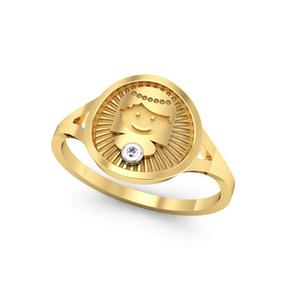 Anillo de Oro amarillo 18 kt con motivo comunión,  0,008 cts Diamantes, Cresber