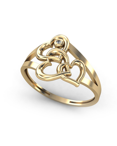 Anillo de Oro amarillo 18 kt con motivo corazones  0,008 cts Diamantes, Cresber