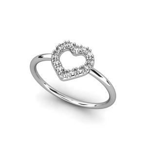 Anillo de Oro blanco 18 kt diamantes 0,09 cts  motivo corazón , Cresber