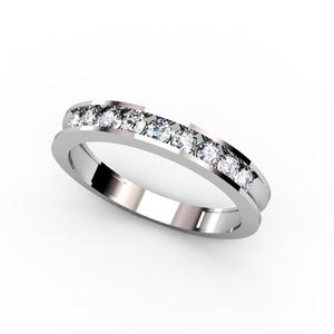 Anillo de Oro blanco 18 kt media alianza con  0,45 cts Diamantes, Cresber