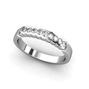 Anillo de Oro blanco 18 kt media alianza con  0,25 cts Diamantes, Cresber