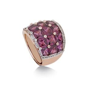 Anillo de oro rosa, piedra amatista y diamantes. JR-1067/18 Oreage