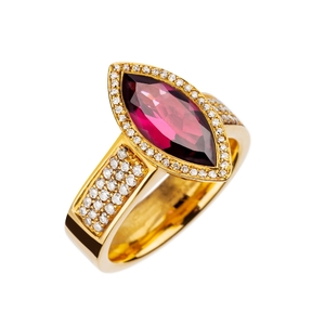 Anillo Oreage ,Oro Amarillo Vermeil,Rodolita,Diamantes JR-1103/12