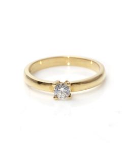Anillo Solitario de Oro amarillo de 18 Kt, con Diamante de 0,25 ct Cresber