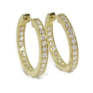 Aros de 0.66cts de diamantes en oro amarillo de 18kts de 2.5mm de grosor por 2.00cm de diámetro ext Never say never