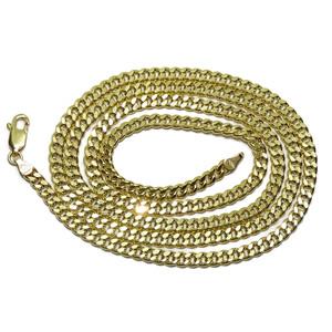cadena de oro amarillo de 18k para hombre modelo barbada plana semi-maciza Never say never