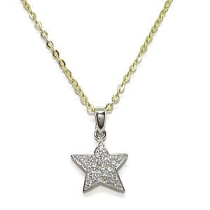 Cadena forzada de oro amarillo de 18Kts de 40cm con cierre reasa y colgante estrella de oro blanco d Never say never