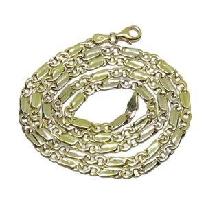 Cadena de Oro Amarillo de 18k de Oro Macizo para Hombre, de eslabones Combinados, 4mm  Never say never