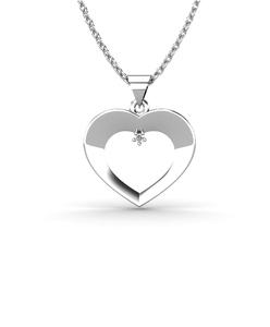 Colgante corazón Oro blanco 18kt con Diamante de 0,01 quilates. Cadena de plata de regalo. Cresber