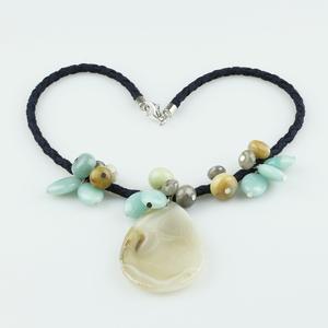 Colgante cordón con con ágata y pendants de amazonita BUC245 Patricia Garcia