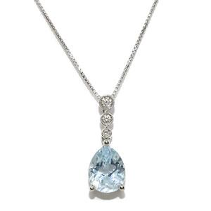 Colgante de Diamantes Talla Brillante de 0.07cts y 1 topacio Azul de 1.94cts montados en Oro Blanco  Never say never