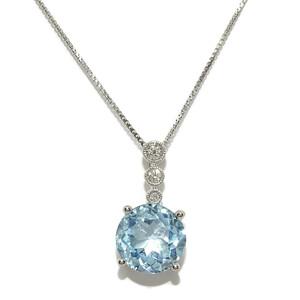 Colgante de Diamantes y Oro Blanco de 18k con 0.07cts de Brillantes y 1topacio de 3.56cts con Cadena Never say never