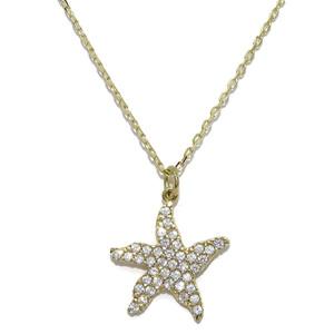 Colgante de estrella de mar de oro amarillo de 18k y circonitas con cadena forzada de oro amarillo d Never say never