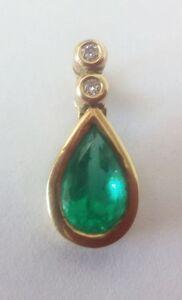 Colgante Esmeralda Diamantes Oro 750/000