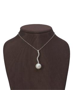 Colgante Oro blanco Diamantes de 0,12 quilates y perla cultivada. Cadena de plata de regalo. Cresber