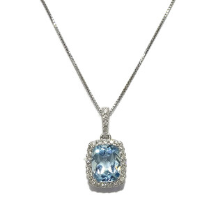 Colgante con diamantes en oro blanco de 18k con 1 topacio azul de 8×9  Never say never