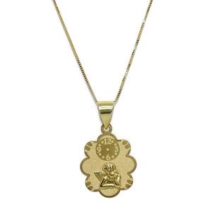 Colgante para bebé de Oro Amarillo de 18k con Nube, Reloj y Angelito con Cadena Veneciana de Oro Am Never say never